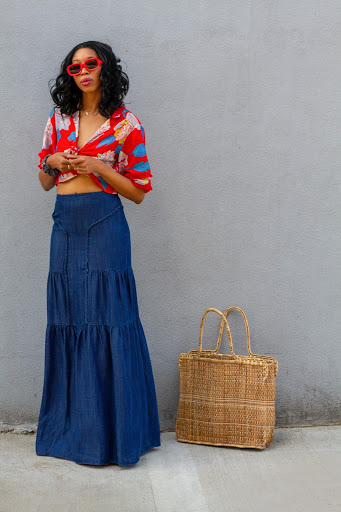 Sabrina Theresa Crop Top & Denim Maxi Skirt